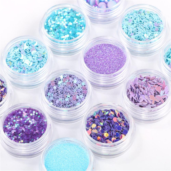 12Pots/Set Mermaid Half Pearls Star Moon Laser Nail Art Sequins Glitters Decorations 3D Manicure UV Gel Polish DIY Accessory