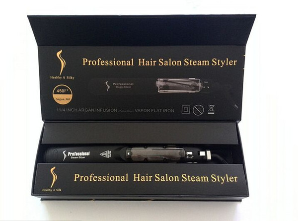 2017 New Original KangRoad Steam Piastre per capelli professionali per capelli Iron Salon Steam Styler 2 in 1 capelli Straightening Iron Flat