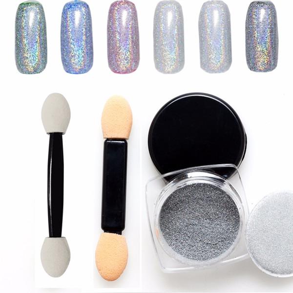 MSHARE 1g Laser Nail Power Glitter Powder 1 Box Holographic Nail Chrome Pigment Glitter Powder Manicure Art