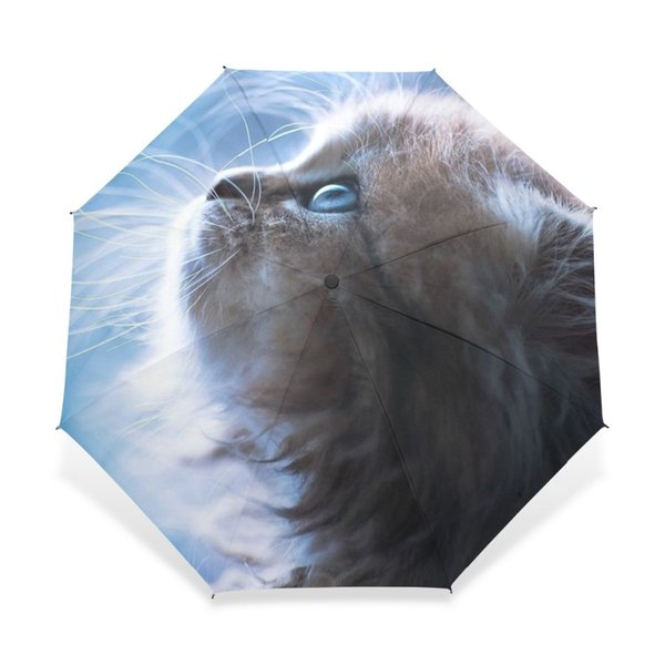 2017 Funny Cute Cat Fully-Automatic Umbrella Ladies Fashion Women Anti-UV Lovely Rain Sun Umbrellas