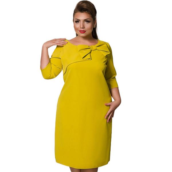 Плюс размер 4XL 5XL 6XL мода твердые женщины Mid Dress красный желтый элегантный OL офис рабочая одежда O-образным вырезом лук прямые Vestidos большой размер