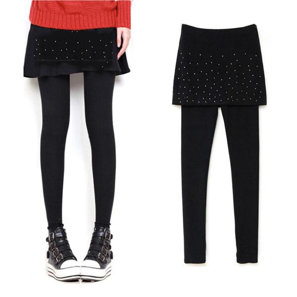 Fashion Pleated Stretchy Warm Ankle-Length Leggins Autumn Winter Women Leggings Black Legins Female Women Skirt Leggins Footless