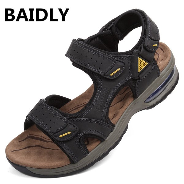 BAIDLY Open Toe Breathable Genuine Leather Men Sandals Beach Shoes Men Gladiator Sandals Summer Outdoor High Quality