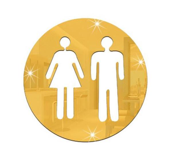 Sıcak Ev Dekor 3D Ayna Sticker Komik WC Tuvalet Kapı Giriş Işareti Erkek Kadın Banyo DIY Duvar Sticker Çıkartmaları Bar Ev Dekor