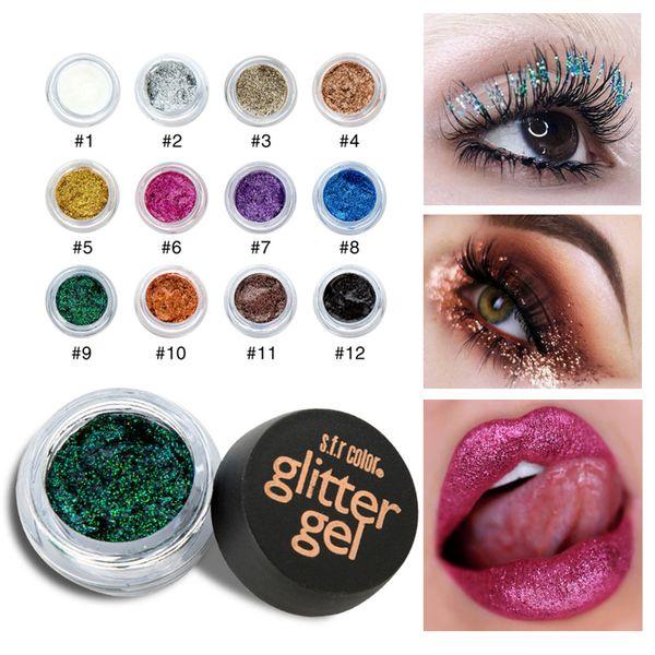 3pcs Sequined Diamond Eyeshadow Cream Glitter Sparkling Crystal Stage Shiny Powder 12 Color Face Eye Lip Body Glitter Gel AA1088