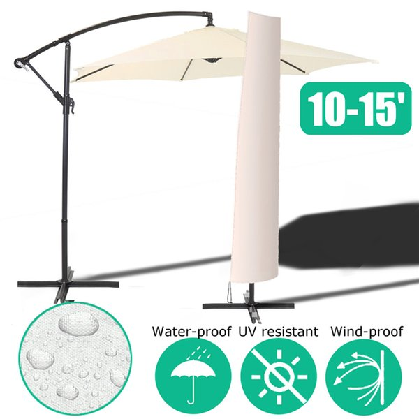 top popular Waterproof Garden Patio Parasol Umbrella Rain Cover Polyester Canopy Sunblock Protective Cover Bag Outdoor Rain Gear Accessories 2019