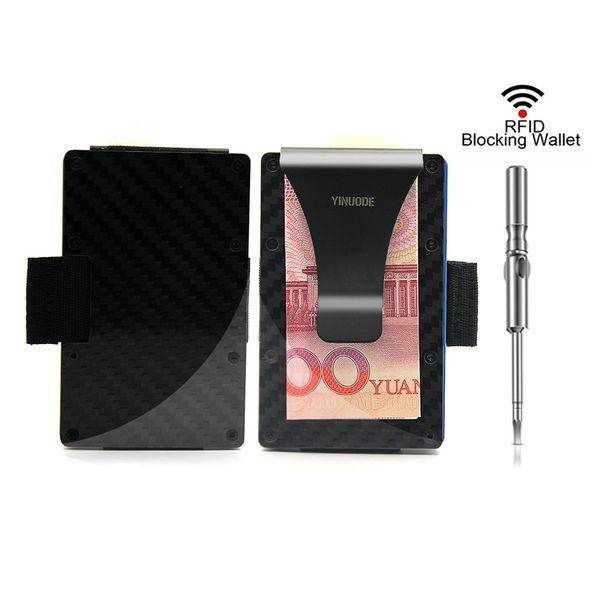 Carbon Fiber Credit Card Holder ,2018 New Pulling Straps Version RFID Blocking Anti Scan Metal Wallet Money Cash Clip