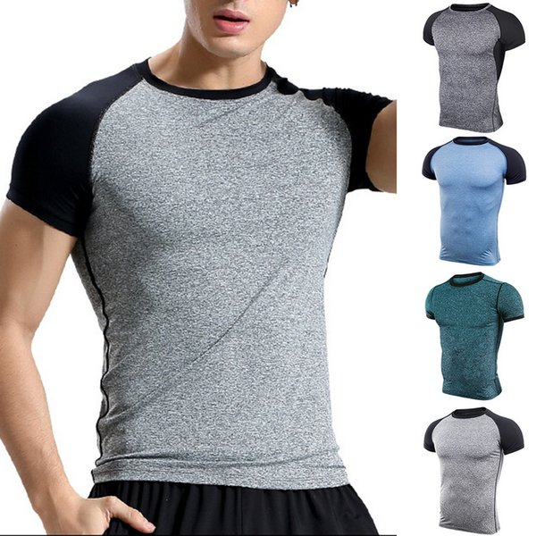 Vertvie Men's Muscle T Shirt Bodybuilding Fitness Men Tee Tops Singlets Compression Tshirts Short Sleeve Tshirt Sports Top
