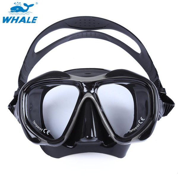 WHALE Professional Scuba Hyperopia Myopia and Gear Diving Swimming Mask With Tempered Glass Lens Goggles Red Black Spearfishing