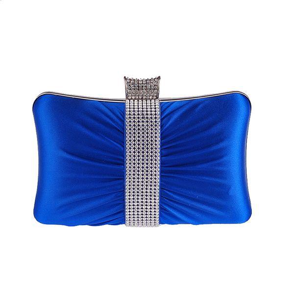 Unique Women satin Evening Bag Rhinestone ring Day Clutch Pleated Mini Chain shoulder bag Long Purse wallet For Bridal Wedding