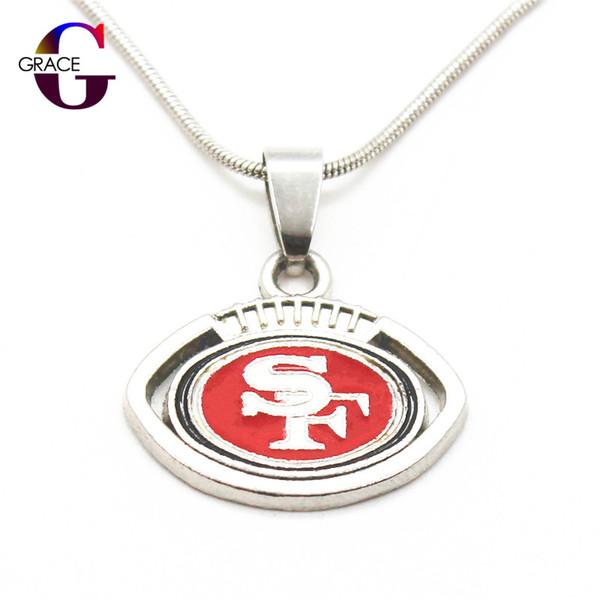 Эмаль мода футбольная команда Спорт кулон ожерелье с змея цепи (45+5 см) ожерелье для женщин мужчины DIY ювелирных изделий