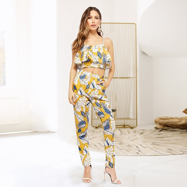 best selling Wholesale 2018 European And American Style Printed Sling Vest Lift Hip Leisure Pants Two Pieces Ladies High Waist Casual Pants