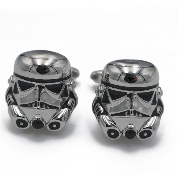 Classic Movie Design Silver Plated Vintage Jewelry Galactic Empire Storm Trooper Spaceship for Men French Shirt Cuff Links Wedding Gift