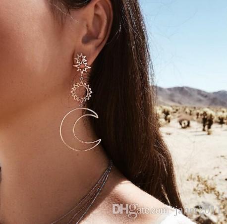 classic moon star sun womans stud earrings geometric hollow out earrings dangle earrings