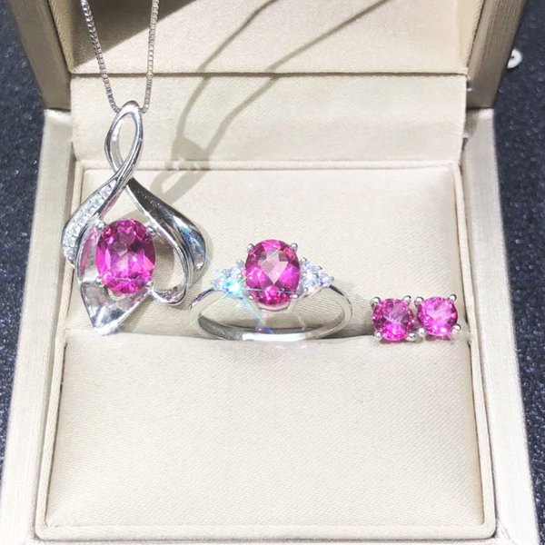 DJ CH 925 Sterling Silver Jewelry set Natural Mystic Topaz Pink Oval Cut Gemstone Necklace Earring Ring sets Women Jewelry set