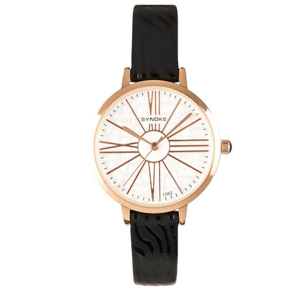 Reloj minimalista de cuero negro para mujer Nuevo 30m impermeable Vestido de mujer reloj de pulsera de cuarzo reloj de mujer moderno 2018