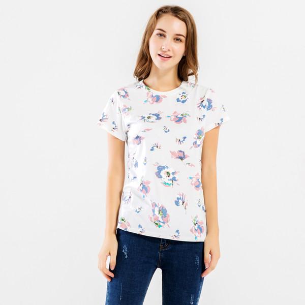 Camiseta de mujer 2017 Ropa de Streetwear de verano Ropa de algodón de mujer Camisetas de manga corta Mujer Hipster Fitness O - Cuello Camisetas S - Xl