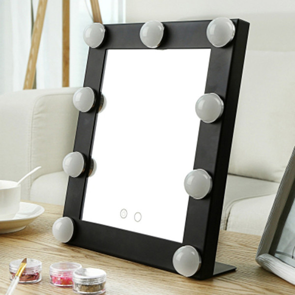 Stainless Steel Framed Mirror Fashion Women Ladies Make Up Mirror Cosmetic with 9 bulb Lights Makeup Tool Nice Gift