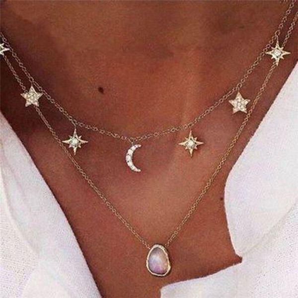 Nouvelle Vacances Bord De Mer Double Collier Plage Bijoux Cristal Lune Goutte D'eau Star Forme Chaînes Collier Date