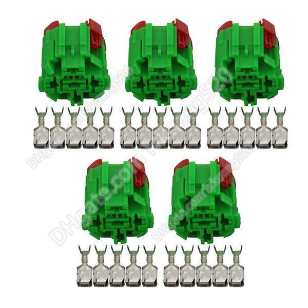 5 Sets 5 Pin 45501E225 Connector Green Automotive Connectors DJ7051F-6.3-21