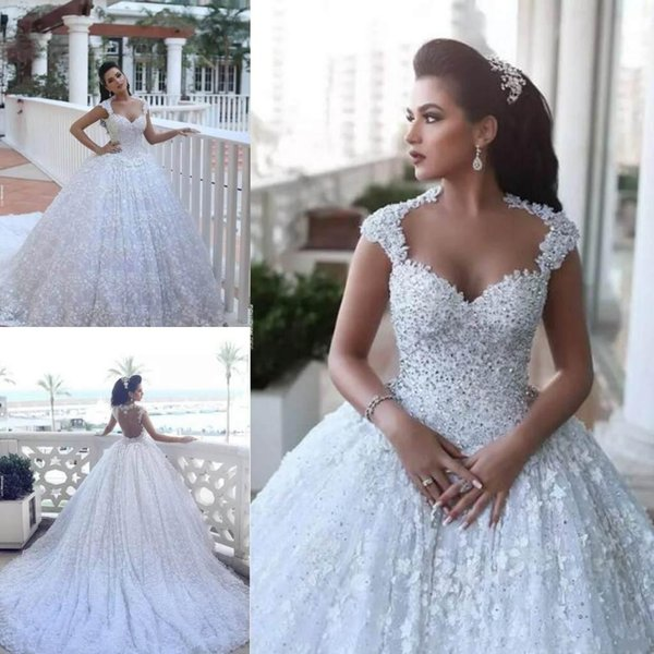 Sweetheart Neckline Design Lace Wedding Dresses 2019 Sleeveless Cathedral Train With Beads 3D Floral Flowers Bridal Wedding Dressses