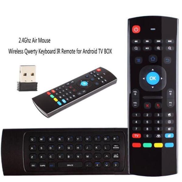 MX3 Multifunções 2.4G Air Mouse Mini Teclado Sem Fio Infravermelho Controle Remoto 3-Giroscópio + 3-Gsensor W USB Receptor Sem Fio