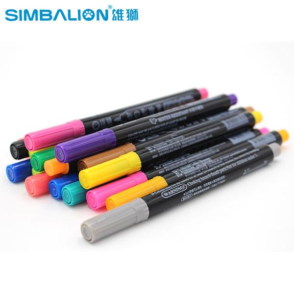 Tissu Simbalion et T-Shirt Liner Marker 20 Couleurs / Set Textile Peinture Pigment Textile DIY Peinture Fournitures