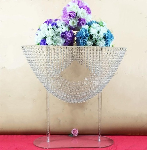 Shiny Oval shape crystal acrylic beaded wedding centerpieces flower stand table decor for wedding event party decoration supplies