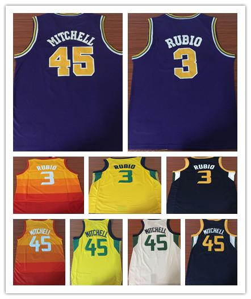 new product 15b59 276e8 2018 Men'S 100%stitched Utah 45 Donovan Mitchell 3 Ricky Rubio City Jerseys  2019 New Donovan Mitchell Ricky Rubio Purple Retro Basketball Jersey From  ...