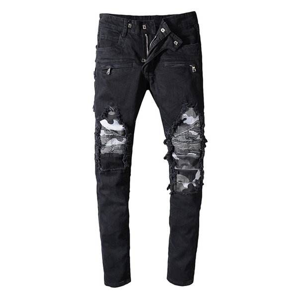 Balmain Camouflage jeans de moda para hombre Simple Summer Motocicleta biker Jeans ligeros Casual sólido Classic Straight mujeres hombres jeans
