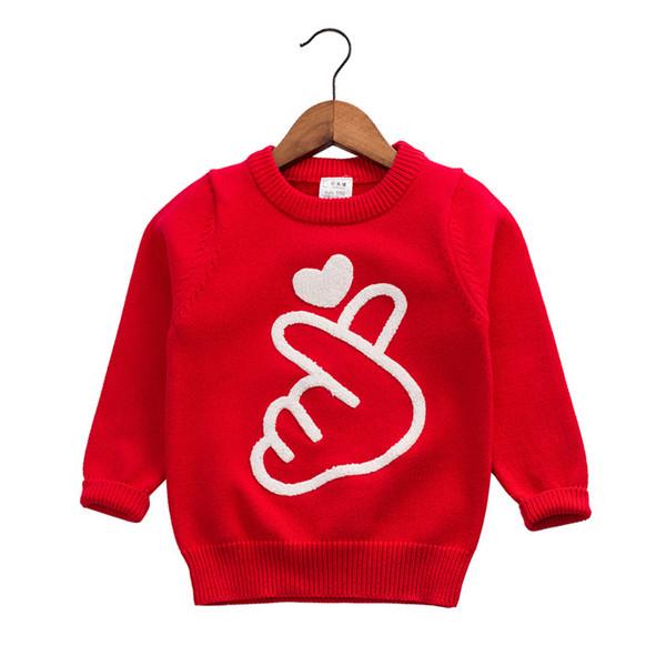 Dulce Amor Girls Sweater Pullover 2018 Осень Вязание Любовь Сердце Топы Девочки Вязание крючком Трикотажные Блузки Дети Трикотаж Drop Shipping