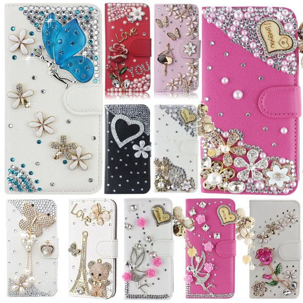 Cover for iPhone 9, Bling Diamond Rhinestone PU Leather Flip Cover Wallet Case for iPhone 9
