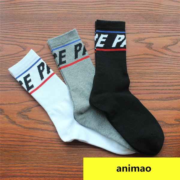 Hot Style Pa Popular Socks Letter Logo Hip Hop Long Tube Double Bar Socks Couple European American Cotton Stocking