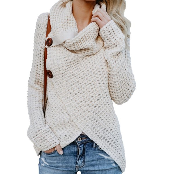 Großhandel Gestrickte Frauen Pullover Langarm Herbst Weibliche Pullover Stricken Unregelmäßigen Button Pullover Plus Größe Schal Kragen Tops GV293