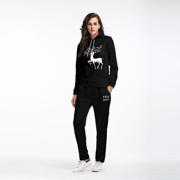 In the spring of two piece snow deer hooded sweater cashmere trousers with stamp size female leisure suit