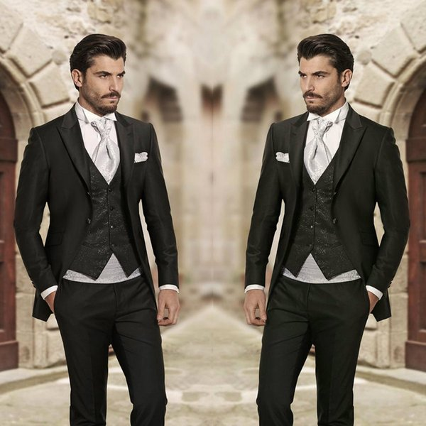 Three Pieces Mens Designer Suits Black Peaked Lapel Groom Tuxedos for Weddings Printed Best Man Suits Custom Made(Jacket+Vest+Pants)