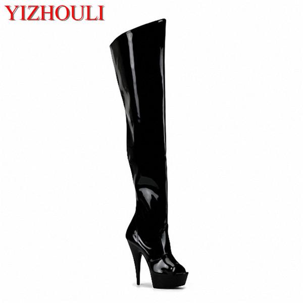 15cm hochhackige Schuhe Ausschnitt Over-the-Knee Damen Stiefel zurück Riemen offene Zehen Sandalen 6 Zoll Fersen Oberschenkel hohe Stiefel