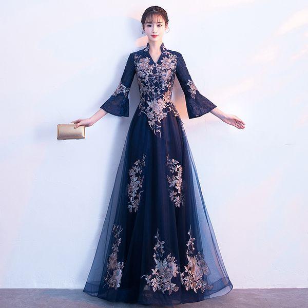 SYG32 Evening Dress Long Black Winter Dresses Temperament Court Flower Cheongsam Sexy Traditional Women Party Dresses Oriental Wedding Gowns
