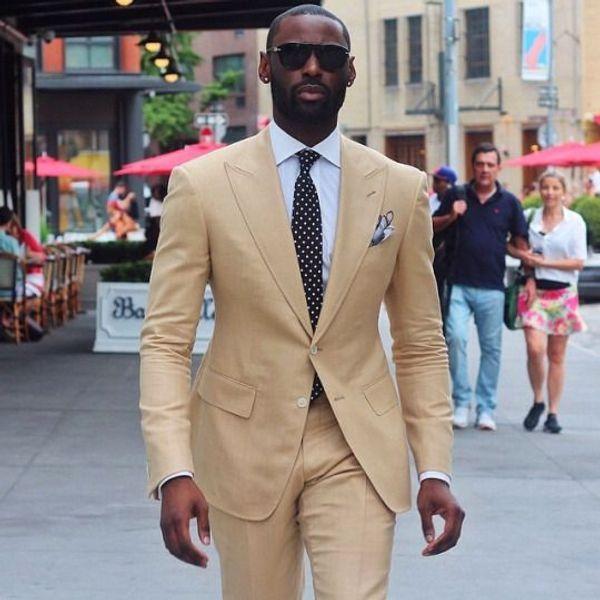 Cool Beige Groomsmen Peak Lapel Two Buttons (Jacket+Pants+Tie) Groom Tuxedos Groomsmen Best Man Suit Mens Wedding Suits Bridegroom