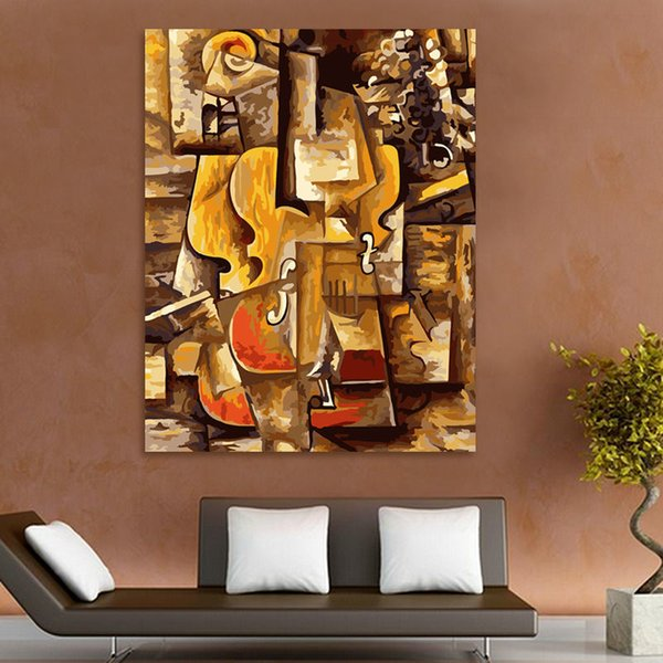coloring by numbers Picasso violin digital paint by numbers abstract oil painting modular painting modern home decor Y18102209