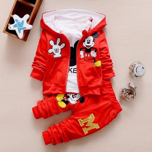 Çocuk Kız Erkek Moda Giyim Setleri Sonbahar Kış 3 Parça Takım Elbise Kapşonlu Coat Giyim Bebek Pamuk Eşofman