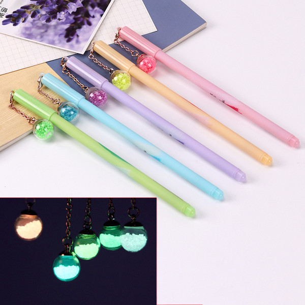 0.5mm Cute Plastic Black Ink Gel Pen Luminous Glass Ball Pendant Pens for Writing School Office Supplies Stationery