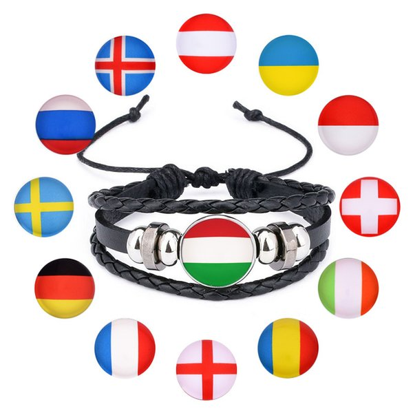 2018 World Cup Bracelet for Women Gold Charms National Flag Leather Bracelets Men Jewelry Friendship Gift Football Fans#S