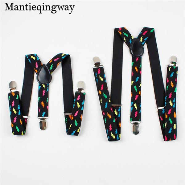 Mantieqingway Parenting Suspenders 여성용 남성용 패션 다채로운 플래시 인쇄용 서스펜더 3 클립 용 조절 식 버클 벨트