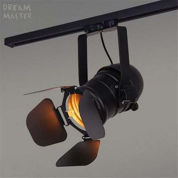 Vintage E27 Track Light Loft Industrial Spotlight Rail Light Black Track Lamp with barndoor Clothes Store Shop Lighting Fixtures