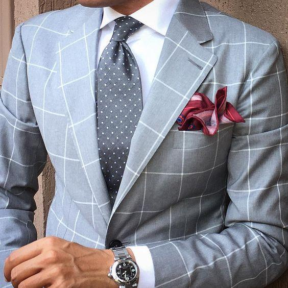Light Blue plaid Cloth Men Suit /Notch Lapel Two Button Men Suits Prom/Bridegroom Suits/Weddding Suit For Men(Jacket+pant)