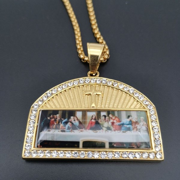 Fashion gold plated diamond last supper Necklace Pendant men women Religious image Stainless Steel Pendant Necklace Jewelry Chain + Pendant