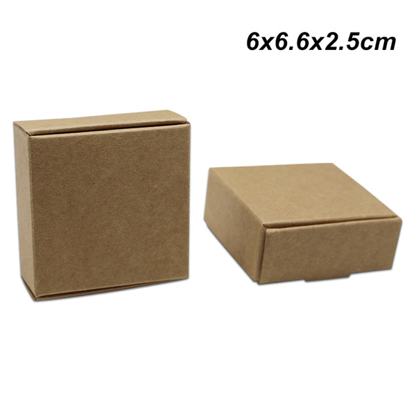 50Pcs/lot 6x6.6x2.5cm Brown Kraft Paper Gift Packing Box for Wedding Party Handmade Soap Paper Board Jewelry Chocolate Cookies Packing Boxes