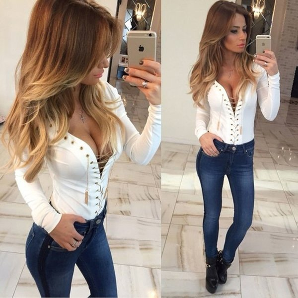 Speical Design 2018 Spring Summer Ladies Top Hollow Out Tops Tee Solid V Neck T Shirt Women Long Sleeve Slim Fit Fashion