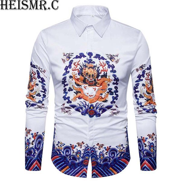 2018 Mens Brand Shirt ,3D China Dragon King Print Shirt,Men's Long Sleeve Dress Shirts Man Luxurious Shirt Chemise Homme BDK98